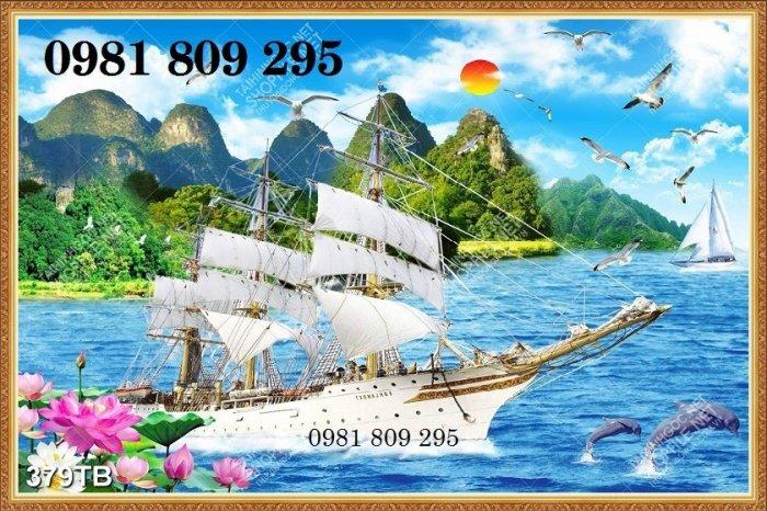 Gạch tranh 3d thuyền buồm - gạch 3d phong thủy3