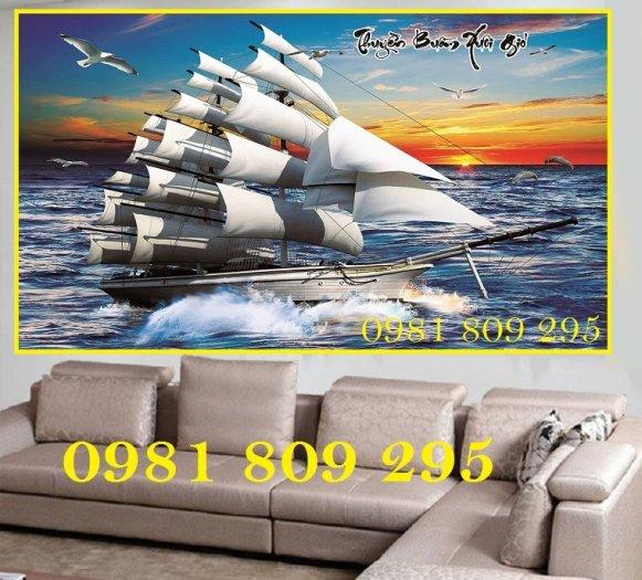 Gạch tranh 3d thuyền buồm - gạch 3d phong thủy2