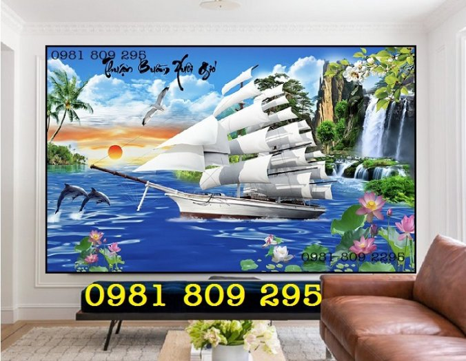 Gạch tranh 3d thuyền buồm - gạch 3d phong thủy0