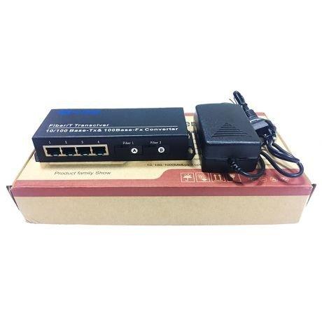 Switch Quang 2 Cổng SC + 4 Cổng J45 10/100Mbps HL-2F4E-1SC4