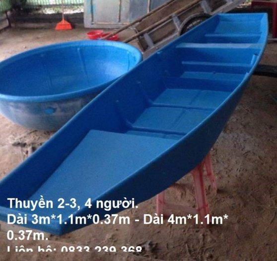 Thuyền nhựa/composite 4 người đi câu, thả lưới, thả mồi cá.0