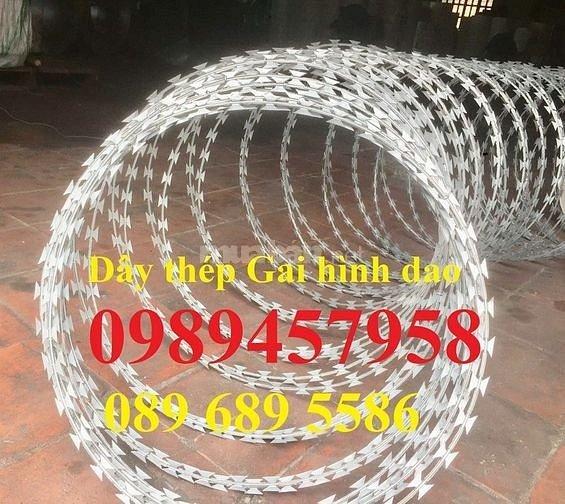 Dây gai tôn, dây kẽm lam, dây thép gai hình dao bảo vệ biệt thự giá rẻ nhất Hà Nội mới 100%0