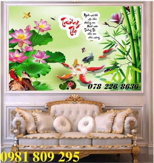 Gạch tranh 3d - tranh hoa sen ốp tường4