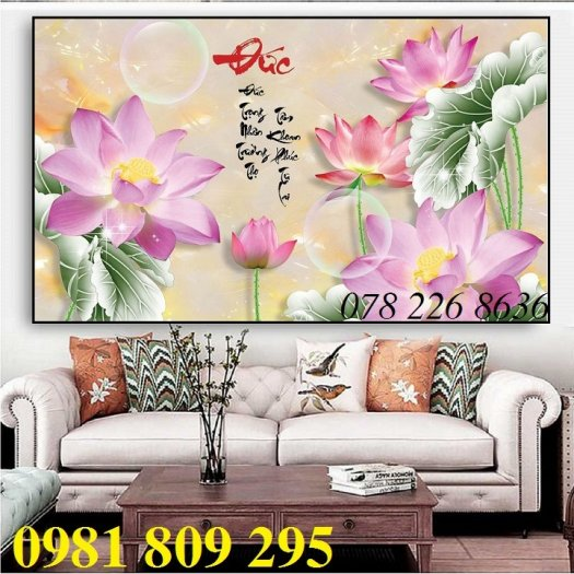 Gạch tranh 3d - tranh hoa sen ốp tường3
