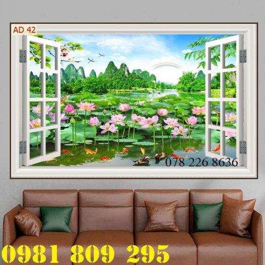 Gạch tranh 3d - tranh hoa sen ốp tường2