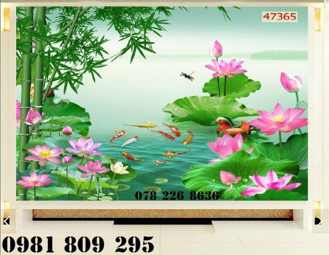 Gạch tranh 3d - tranh hoa sen ốp tường1