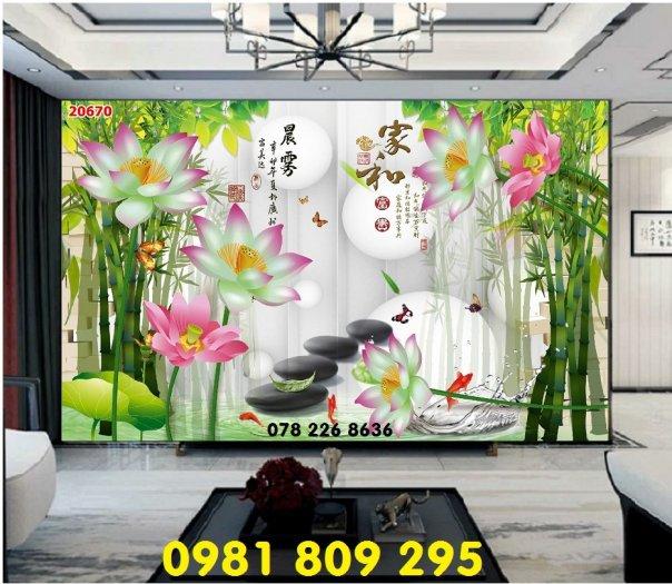 Gạch tranh 3d - tranh hoa sen ốp tường0