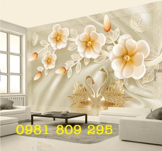 Tranh thiên nga - gạch tranh 3d hoa trang trí1