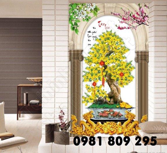 Tranh hoa mai - gạch tranh 3d - tranh gạch2