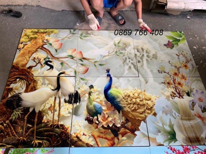 Gạch tranh 3D-tranh 3D chim công6