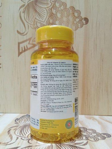 Bổ Sung VITAMIN D3 Sunvite Super Potency 20mcg ( Puritan's Pride Viên Uống Lọ 100 Viên )0