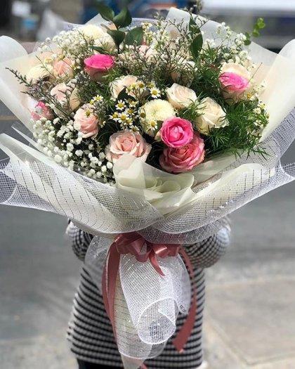 Bó hoa hồng tone trắng hồng mừng sinh nhật bạn - LDNK1140