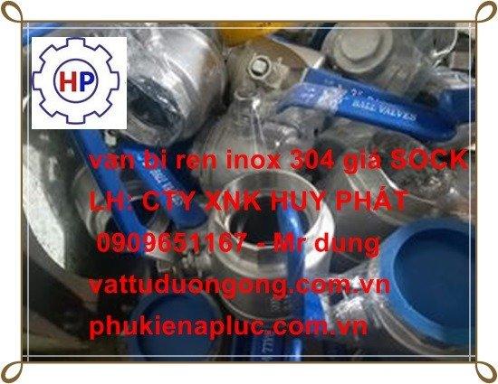 Van bi tay gạt ren DN15 ( phi 21) inox 3040
