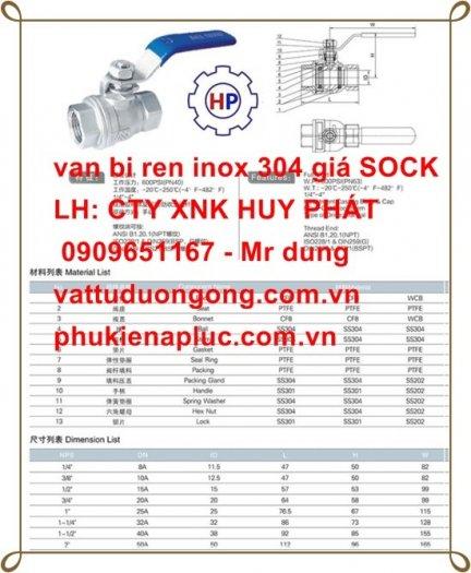 Van bi tay gạt ren DN25 ( phi 34) inox 3042