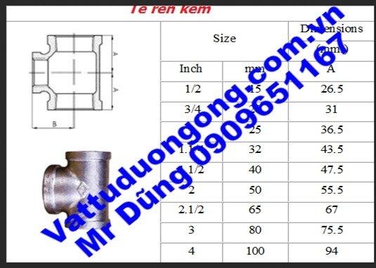 Tê Ren Kẽm DN32 ( Phi 42)1