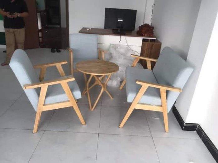 Thanh lý Bộ sofa cafe khung gỗ mặt nệm4