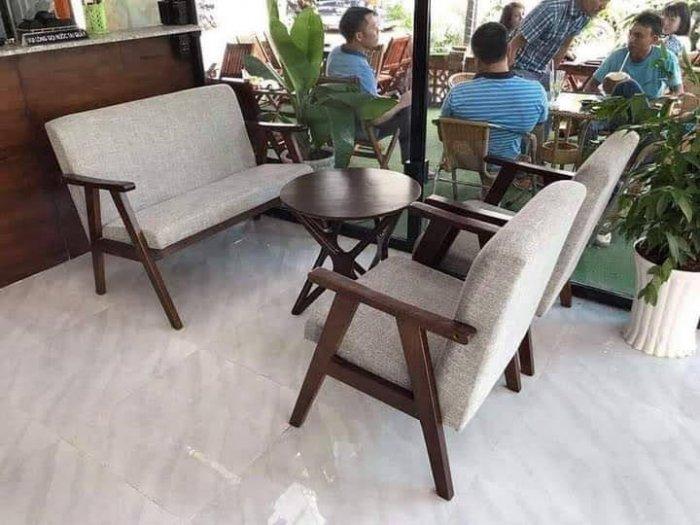 Thanh lý Bộ sofa cafe khung gỗ mặt nệm3