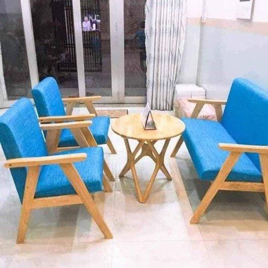 Thanh lý Bộ sofa cafe khung gỗ mặt nệm2