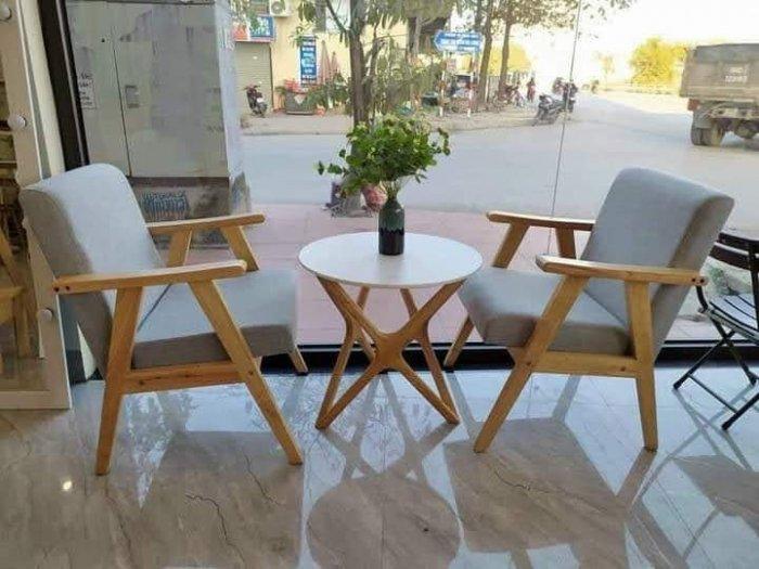 Thanh lý Bộ sofa cafe khung gỗ mặt nệm1