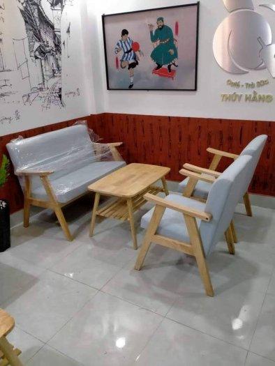 Thanh lý Bộ sofa cafe khung gỗ mặt nệm0