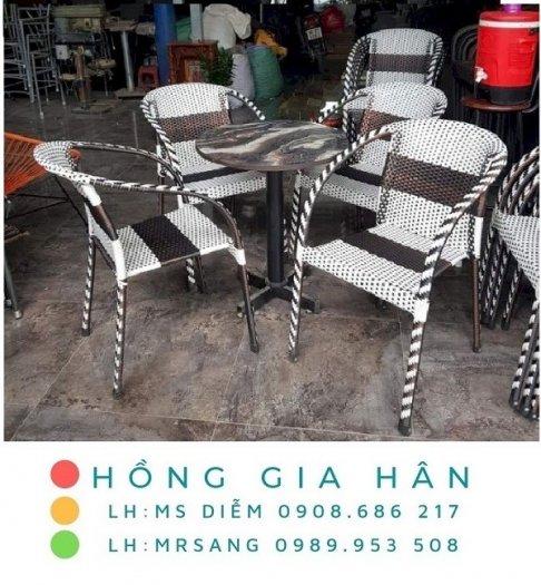 Bàn ghế nhựa giả mây Hồng Gia Hân M0050