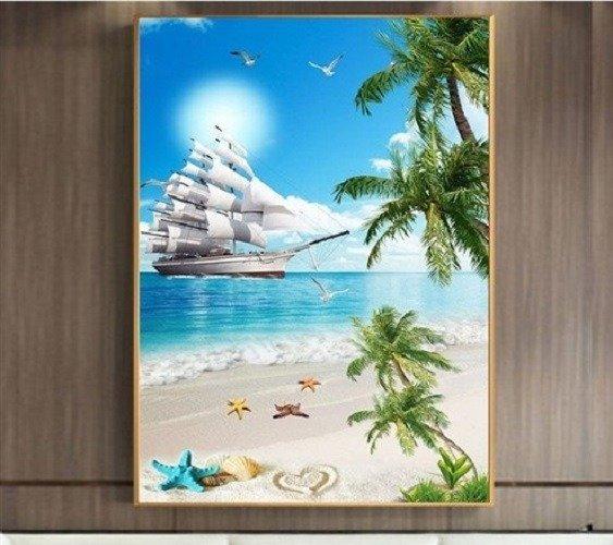 Tranh gạch 3d thuận buồm xuôi giá - HNBV43