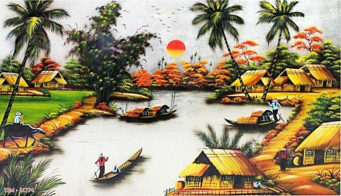 Tranh 3d phong cảnh phong thủy phòng khách - tranh gạch 3d - HKN651