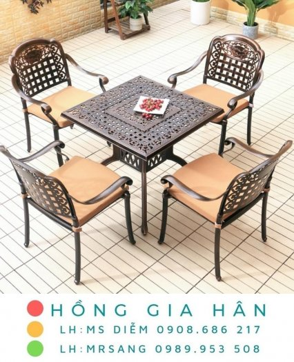 Bàn ghế kiểu sân vườn hiện đại Hồng Gia Hân N0380