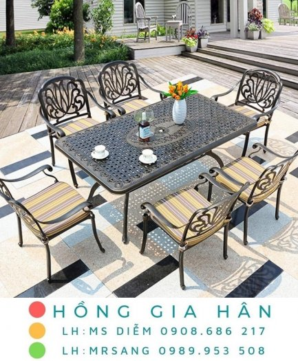 Bàn ghế kiểu sân vườn hiện đại Hồng Gia Hân N0450