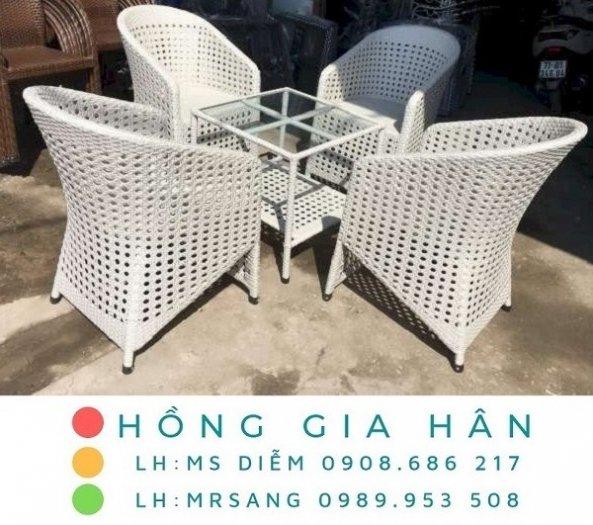 Bàn ghế nhựa giả mây Hồng Gia Hân M0330