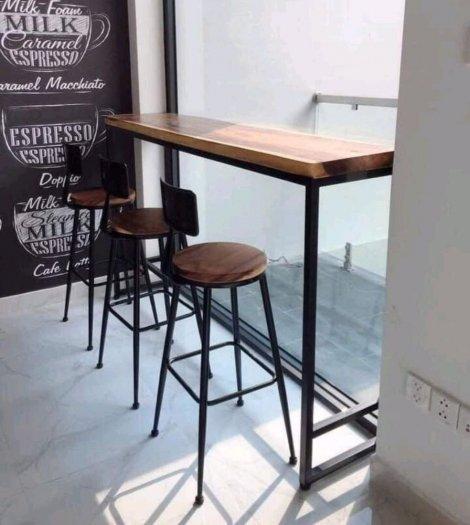 Ghế quầy bar chân sắt mặt gỗ4