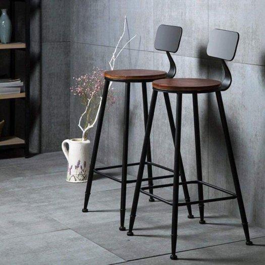 Ghế quầy bar chân sắt mặt gỗ5