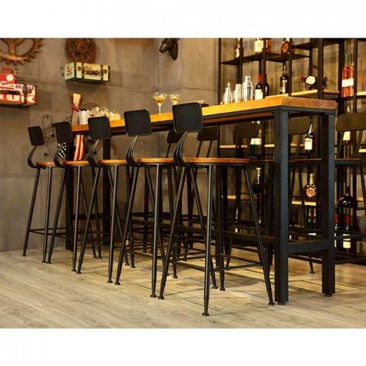 Ghế quầy bar chân sắt mặt gỗ1
