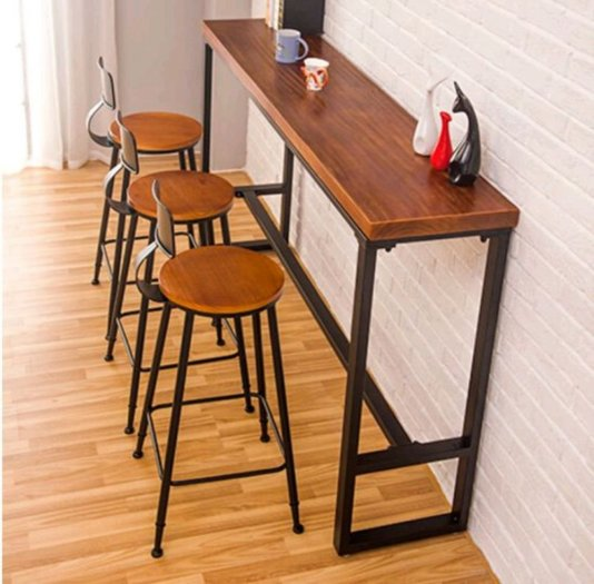 Ghế quầy bar chân sắt mặt gỗ2