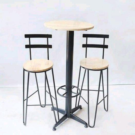 Ghế quầy bar chân sắt mặt gỗ11