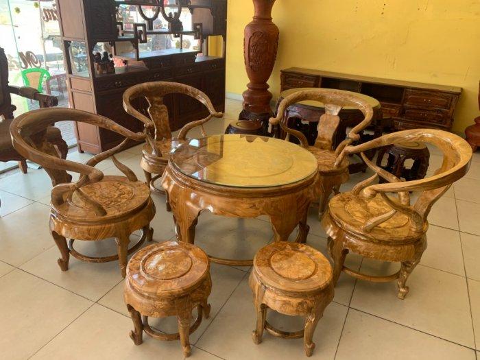 Bộ bàn ghế móc thúng tròn mặt liền 7 món gỗ nu nghiến BBG5537