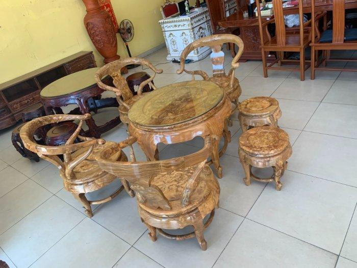 Bộ bàn ghế móc thúng tròn mặt liền 7 món gỗ nu nghiến BBG5536
