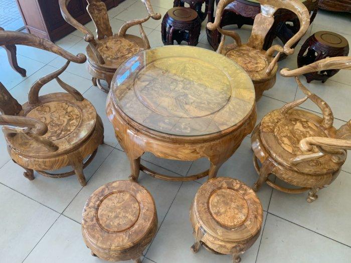 Bộ bàn ghế móc thúng tròn mặt liền 7 món gỗ nu nghiến BBG5535