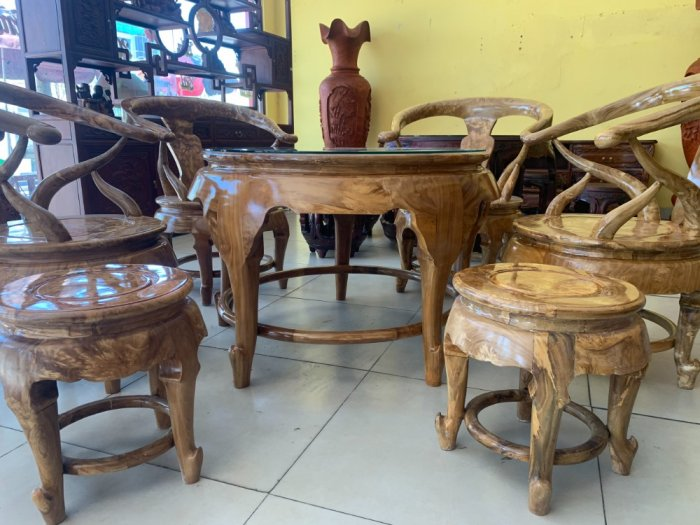 Bộ bàn ghế móc thúng tròn mặt liền 7 món gỗ nu nghiến BBG5534