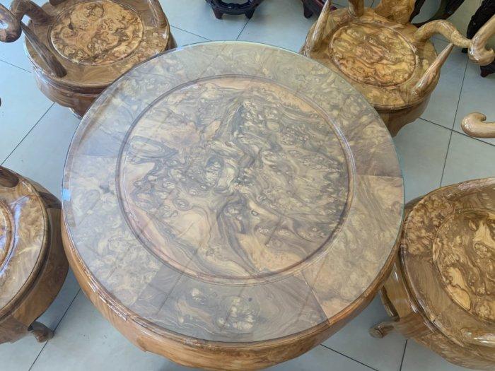 Bộ bàn ghế móc thúng tròn mặt liền 7 món gỗ nu nghiến BBG5533