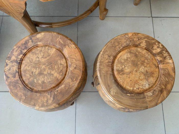 Bộ bàn ghế móc thúng tròn mặt liền 7 món gỗ nu nghiến BBG5532