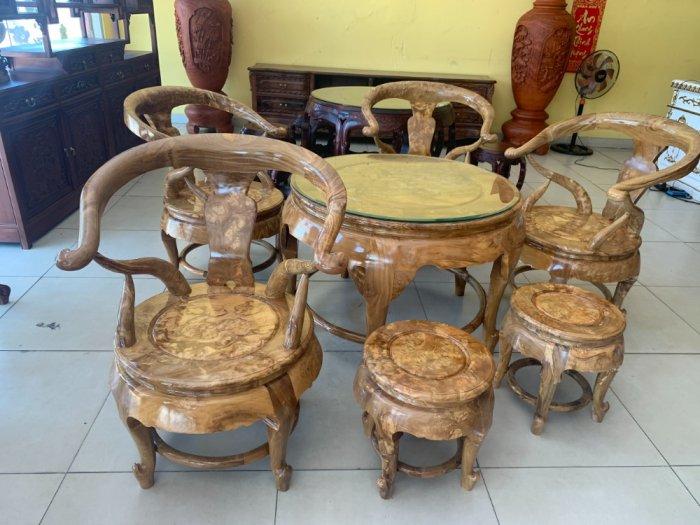 Bộ bàn ghế móc thúng tròn mặt liền 7 món gỗ nu nghiến BBG5531