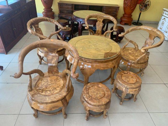 Bộ bàn ghế móc thúng tròn mặt liền 7 món gỗ nu nghiến BBG5530