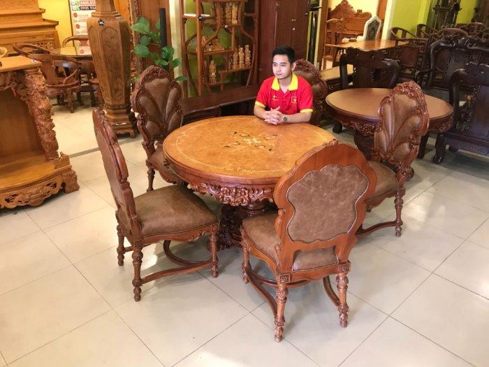 Mặt bàn ăn tròn cẩn veneer 1.27m*4cm MBA081E10