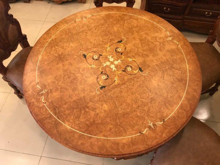 Mặt bàn ăn tròn cẩn veneer 1.27m*4cm MBA081E9