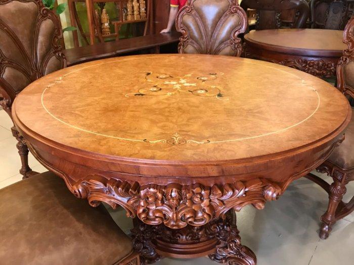 Mặt bàn ăn tròn cẩn veneer 1.27m*4cm MBA081E8