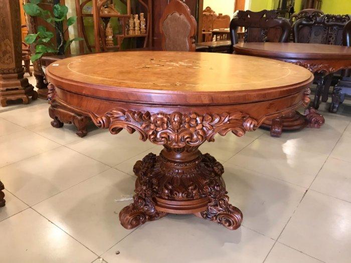 Mặt bàn ăn tròn cẩn veneer 1.27m*4cm MBA081E7
