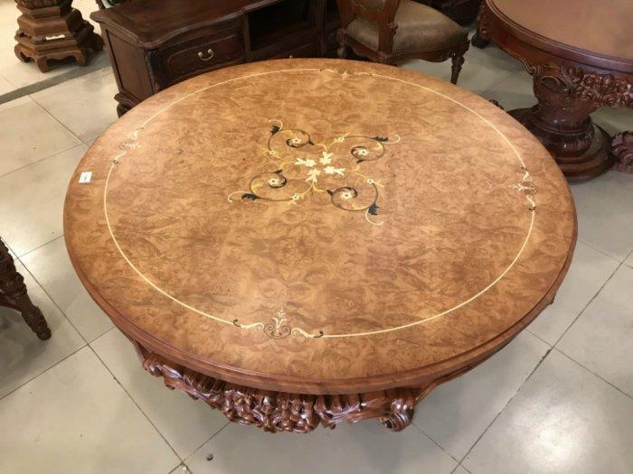 Mặt bàn ăn tròn cẩn veneer 1.27m*4cm MBA081E6