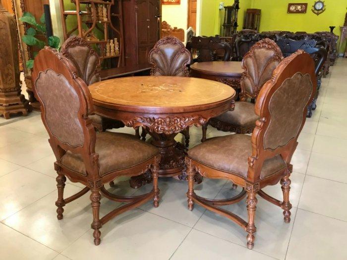 Mặt bàn ăn tròn cẩn veneer 1.27m*4cm MBA081E5