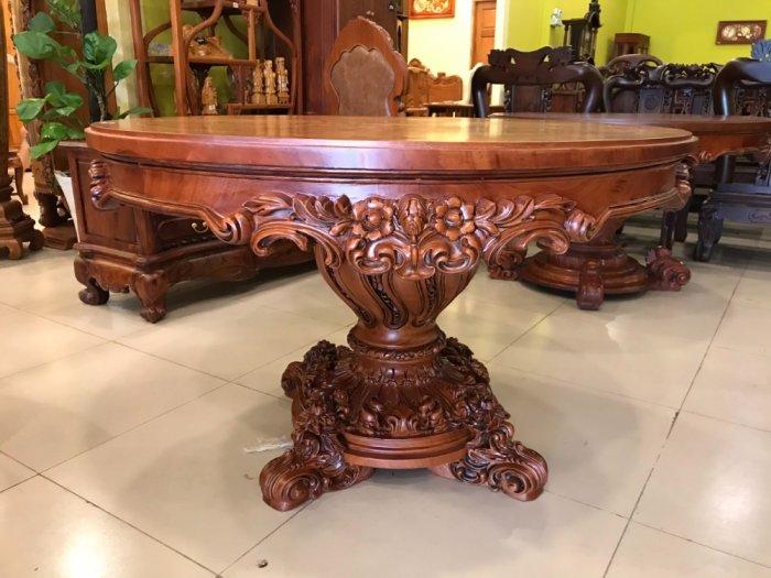 Mặt bàn ăn tròn cẩn veneer 1.27m*4cm MBA081E4